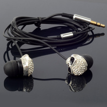 Diamond Metal Skull earphone 3.5mm In-ear Stereo candy Earphones Earbuds For iPhone iPod MP3 MP4 PC With Metal Box(China)