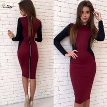 Ruiyige Office Women Vintage Summer Plus Size Zipper Back Formal Stretch Pencil Work Bodycon Dress Fitted Femme Patchwork Robe(China)