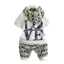Love Print Baby Summer Cotton T-Shirt With Pants Baby Boy Cloth Fashionable Baby Boy Clothing Set Valentines Day Kids Outfits