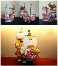 hand work toy creative anime One Piece Sunny Luffy ship 3D paper DIY jigsaw puzzle children gift boat model 1set without tool