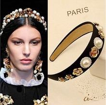 New Headband Occident Style Hair Accessories Vintage Metal Flowers Pearls Hairbands for Women