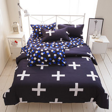 Wongs Bedding Brand Blue Bedding Sets White Cross Duvet Cover Bed Sheet Set Single Full Queen King Size 3/4PCS New Home Textile