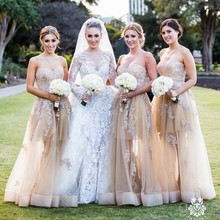 2016 Custom Made Lace Champagne Dresses Bridesmaid Dress See Though Bottom Top Floor Length Wedding Party Gowns