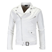 New 2018 fashion boutique Mens leisure motorcycle leather jackets coats / Male Slim white slender casual jackets coats(China)