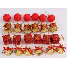 Hot Sale Pretty 24Pcs/pack 4 Kinds Red Christmas pendant accessories Christmas tree decorations shopping mall Christmas pendant(China)