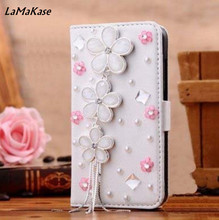 Bling Handmade Glitter Rhinestone Pearl Leather Flip Wallet Protective Case for iphone4 5 6 7P SamsungS3 4 5 6 S7 S8 N2 N3 4 5 7(China)