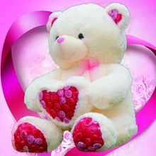 2017 New 50cm/70cm Free Shopping Teddy Bear Plush Wedding Bear Love Toy Doll Bear Rose Satin Heart Hold Valentine's Day Gift(China)