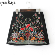 Buy European Style Fashion Women Skirts Multicolor Floral Embroidery Skirt saia Back Zipper A-line Mini Skirt faldas BBWM7200 for $14.07 in AliExpress store