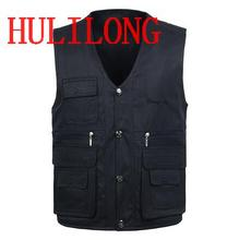 Male Quinquagenarian Fashion Vests For Men's Multi-pocket Photography Cotton Vest Men Casual Reporter Director Out Door Military