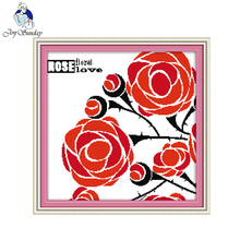 Joy Sunday flower style The red rose of love 14ct and 11ct stamped cross stitch patterns kit for needle craft stores(China)