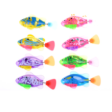 1Pcs New Baby toys Swimming led Light Fish Activated Battery Powered Robot Fish For Baby Bathing Toys(China)