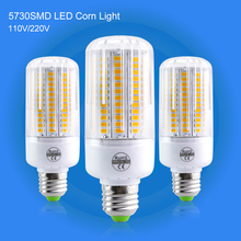 SMD Corn Lamp E27 LED Candle Light AC220V 110V Radiation Cover Bulb White / Warm White 24~136Leds Fireproof High Quality Lamps