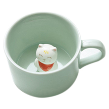 Creative small ceramic milk mug with animals cute cartoon three-dimensional coffee cup Heat-resistant Celadon cup lucky cat