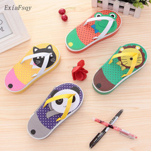 Fruit cartoon Slippers Pencil case for girls Cute PU big capacity pencil bag Kawaii Stationery pouch pen box school supplies2.48(China)