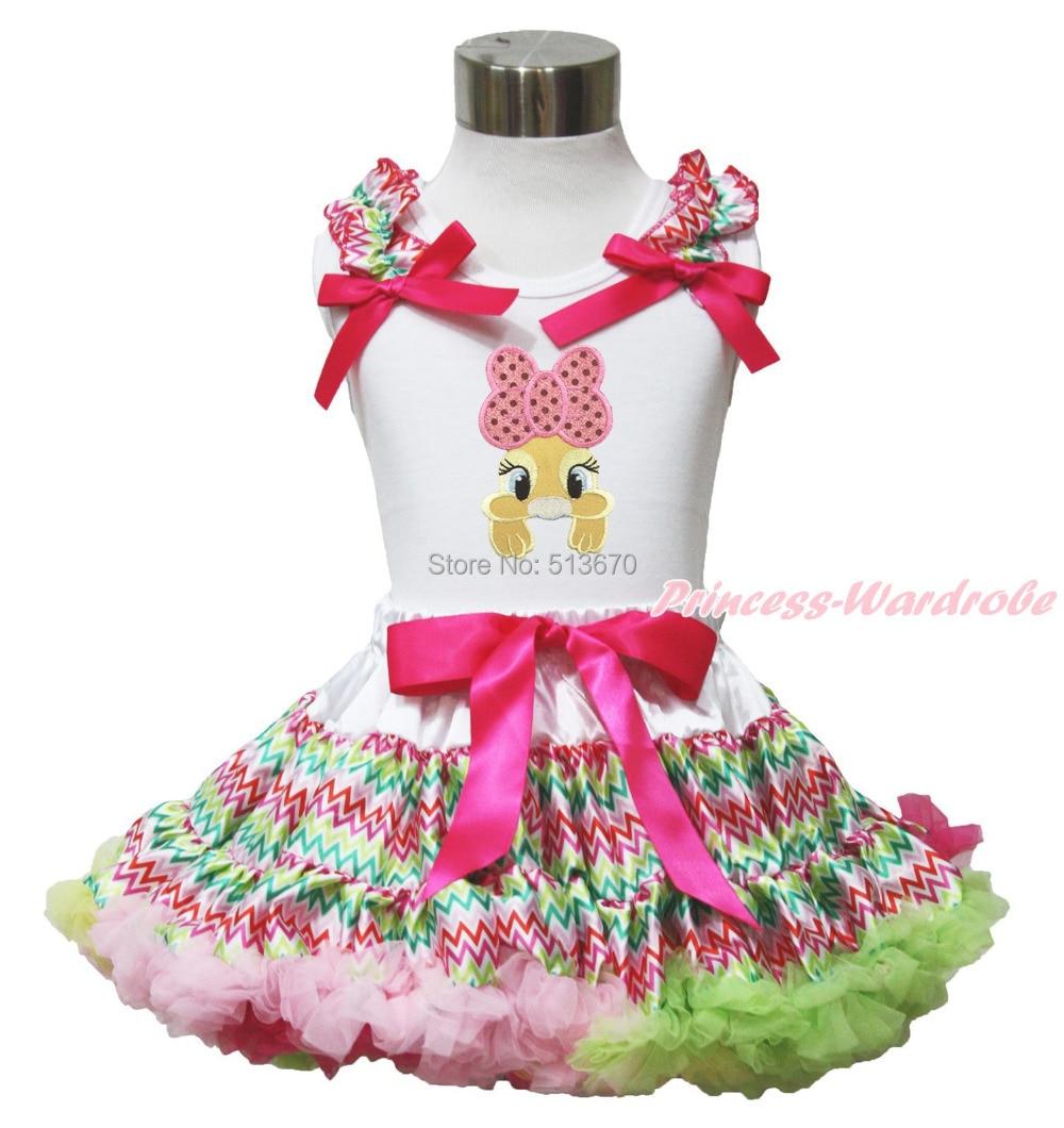 Easter Pink Bow Bunny White Top Rainbow Chevron Girl Pettiskirt Set 1-8Year MAPSA0430<br>