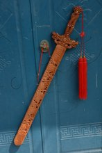 Rare collection of Chinese mahogany cave old sword,Town disaster evil,Free shipping