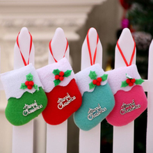 Christmas Decorations Green Small Socks Pink Pendant Christmas Red Gifts Small Boots Pendant For Christmas Tree Wreat X049 #20(China)