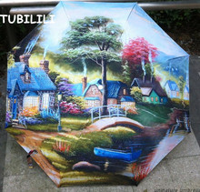 Oil Painting Rain Umbrella Drawing Art Floral Girls Umbrella High Quality Folding Novelty Umbrella For Rain Regenschirme(China)