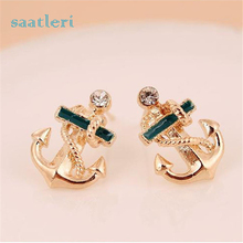 saatleri 2017 Earrings for Women Fashion Crystal Rhinestone Sailor Anchor Ear Stud Earrings Brincos Bijoux Party Jewelry Gift