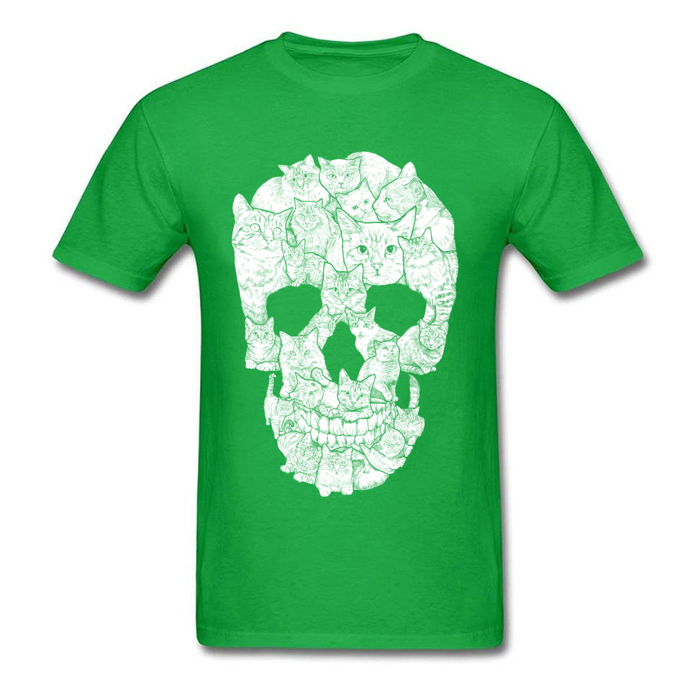 Sketchy Cat Skull Wholesale Short Sleeve Camisa T Shirt 100% Coon O-Neck Men T Shirt Casual Tee-Shirt Summer Autumn Sketchy Cat Skull green