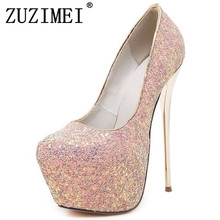 Buy Fashion Women Pumps Ultra High Heel Glitter Bling Bling Wedding Bridesmaid Platform Shoes Stiletto Fetish Shoes size 34-40