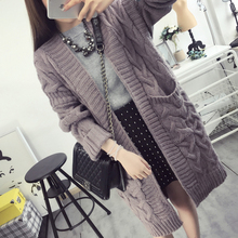 2016 autumn new twist sweater cardigan in the long coat female Korean women knitted 2016 explosion models(China)