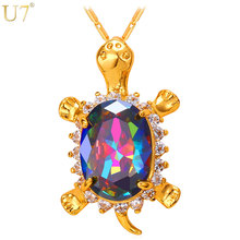 U7 New Cute Turtle Animal Pendant Gold Plated  Wholesale Crystal Charm Tortoise Pendant For Women Lucky Jewelry P792