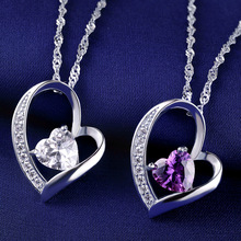 LIAMTING 2016 Newest 100% 925 Sterling Silver Heart Pendants Necklace With 5A White And Purple Heart Cubic Zircon Pendant VA130