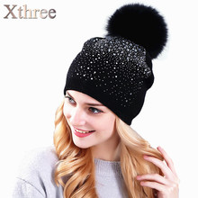 Xthree women's winter hat Rabbit fur wool knitted hat the female of the mink pom pom Shining Rhinestone hats for women beanies