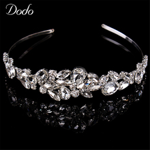 Luxury silver color unique crystal gorgeous vintage bridal crown tiara women shining teardrop stone wedding hair jewelry HF9(China)