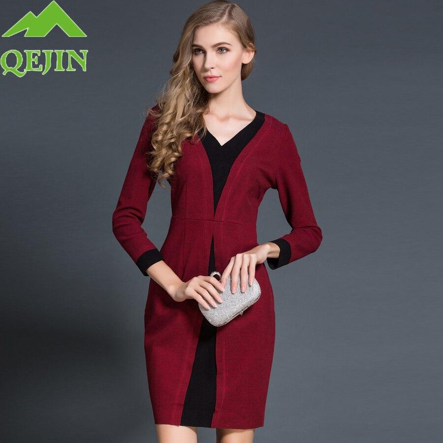 2016 Winter Europe women cotton dresses Long sleeve V-neck knitted cotton dress female fashion patchwork back zipper Big sizeÎäåæäà è àêñåññóàðû<br><br>