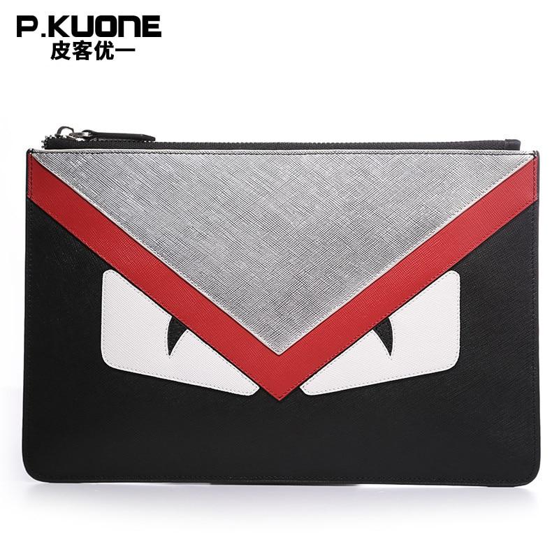 P.Kuone Brand Designer Unisex Leather Handbag Small Monster Envelope bag Fashion Women and Men Clutch Bag Lovers Clutches<br>