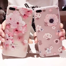 sFor Coque iPhone 7 Case Peach blossom 3D Embossed Phone Cases for iPhone 7 6s 6 Plus Cover Fashion Flower Fresh Soft Cover Case