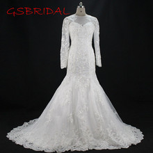 2017 Beautiful Appliques Tailored Cathedral Tail Wedding Dresses Lace Up Back Custom Made Long Sleeves Tulle Empire Bridal Gown(China)