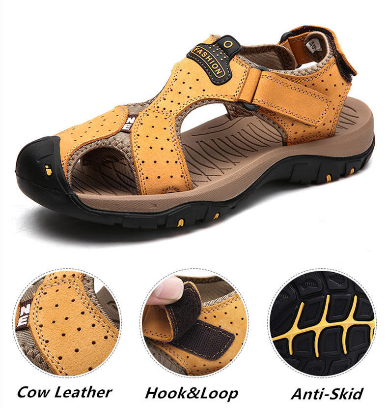 STS BRAND 2019 Summer Genuine Leather Sandals Men Casual Shoes Sneakers Plus Size Beach Sandals for Man Outdoor Casual Sneakers (6)