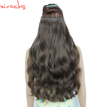 2 Piece Xi.Rocks 5 Clip in Hair Extension 70cm Synthetic Hair Clips Extensions 120g Curly Hairpin Hairpiece Rust Brown Color 8A(China)