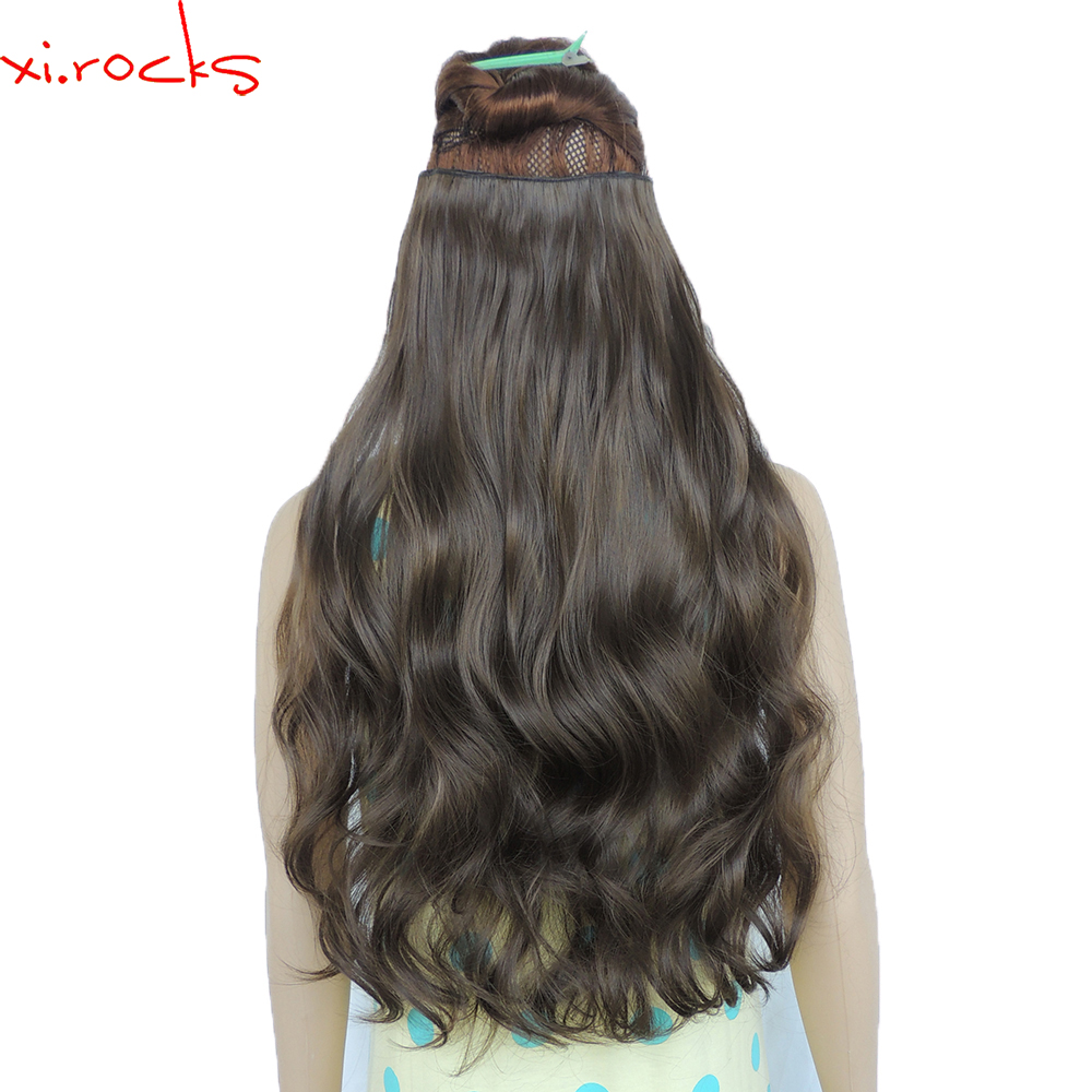 wjj12070/8A 2Piece Xi.Rocks 5Clip in Hair Extension Synthetic wig Clips Extensions Curly Hairpin Hairpiece Rust Brown wigs title=