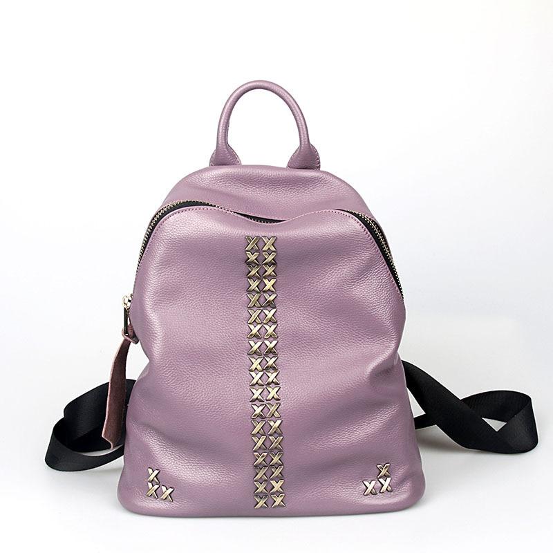 Fashion rivet lady backpack designer genuine leather waterproof bags large capacity travel women backpacks 4color borse da donna<br><br>Aliexpress