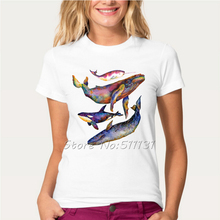 Newest 2017 Funny Four Whale Quartet T-Shirt Women's galaxy space Design Whale Animal T Shirt Summer Novelty Cool Tops Tee