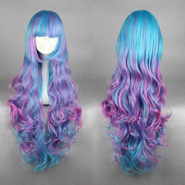 MCOSER 70cm Pretty Harajuku Hairstyle Girl Long Curly Multi Rainbow Color Fashion High Quality Cosplay Lolita Wig<br><br>Aliexpress