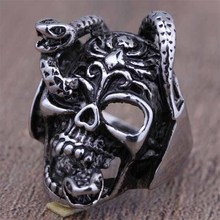 2016 New Stainless Steel Gothic Punk Style Snake Skull Head Finger Rings For Men Black Silver Fashion Jewelry Top Quality (A534)