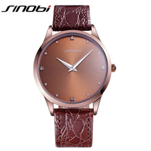 SINOBI Brands Cheap Watches For Men Brown Business Wholesale Prormotion Price Mens Watch High Quality Office Male Wrist Watch