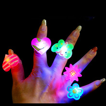 2pcs/lot Cartoon soft led finger ring toy flash luminous ring toy party props light up toy and kids birthday colorful gift