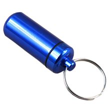 Best Sale 5pcs Aluminum Pill Box Case Bottle Holder Keychain Container Blue(China)