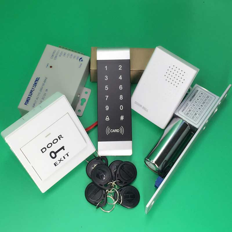 Touch Keypad Access Control Kit Electric Door Lock RFID/EM Keypad Card Access Controller+ID Keyfobs+Exit Button<br><br>Aliexpress