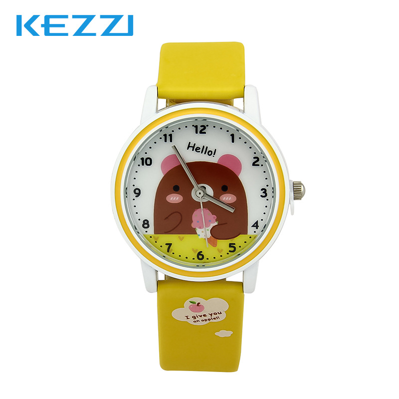 Lovely Watch Christmas Gifts for Childrens Wrist Watch Analog Quartz Watches Kids Watches Cute Saati cartoon Yellow Leather<br><br>Aliexpress