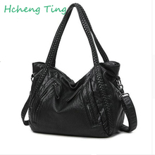 2017 New Quality Washed Leather Bag Large Capacity Women Handbag Knitting Lady Shoulder Bag Big Black Hobo Female Cross body Bag