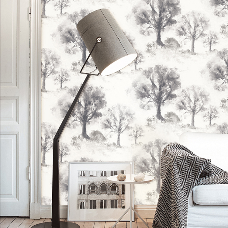 Winter Forest Trees Blue Gray Ink Mural Wallpaper PVC <br>