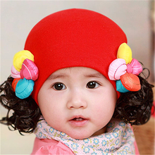 Cute Baby Girl Wig Hat For Kids Winter Baby Caps Toddler Beanie Kids Lovely Warm Organic Cotton Baby Hat Girl Infant 70D0505(China)