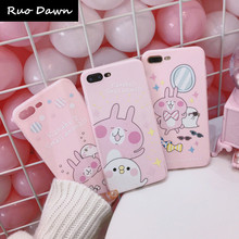 Ruo Dawn For iphone X 6 6S 7 8 Plus Phone Cases Soft Rubber Korean Style Back Cover Pink Rabbit High Quality Mobile Capa(China)